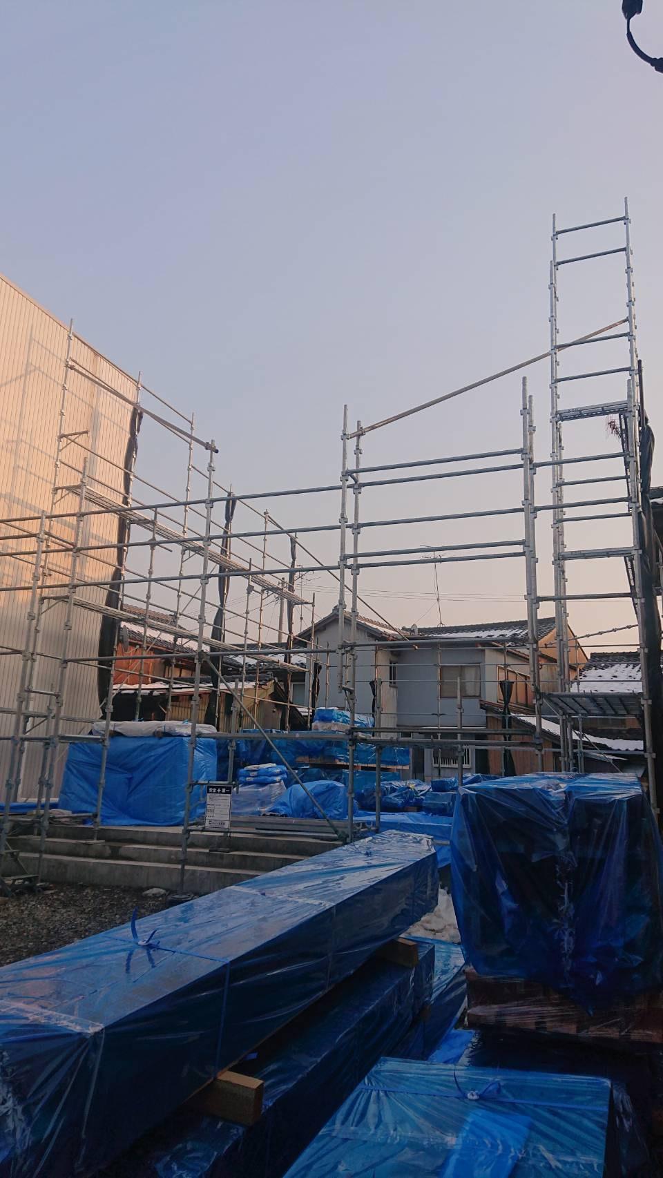 福井県越前市 木造建築現場 先行足場工事