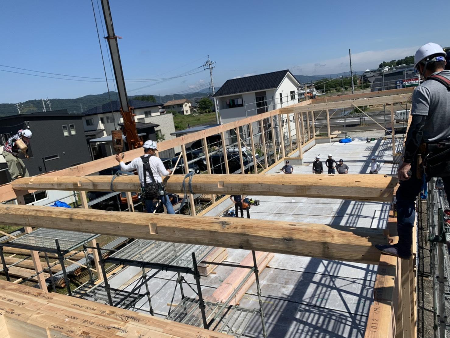 福井県越前市 某会社倉庫新築現場 木造建方工事