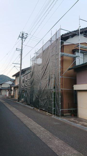 福井県今庄   改装工事   外部,内部足場組立
