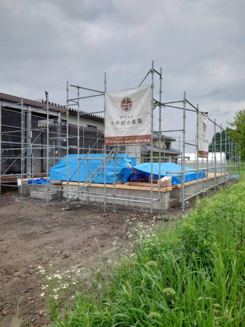 木造新築現場. 足場工事(越前市)