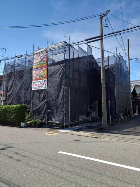外壁塗装現場. 足場工事(福井市)