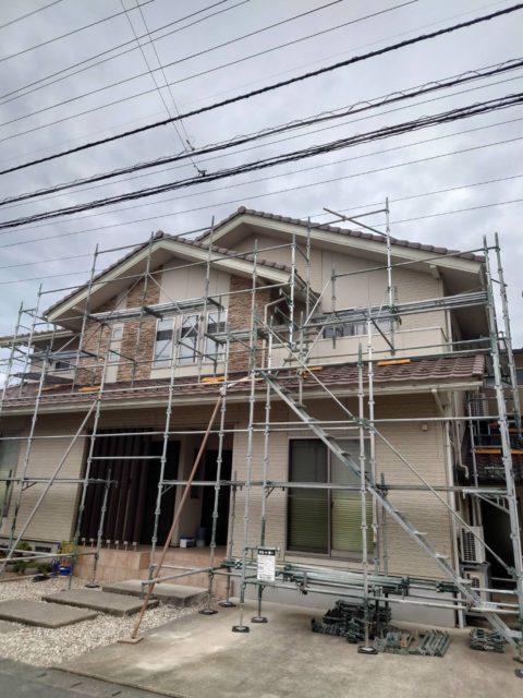 足場工事. 改修現場(福井市)