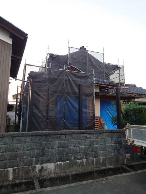鯖江市改修工事現場. 足場