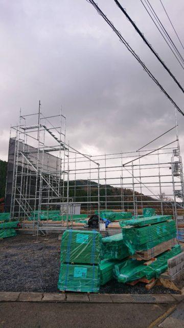 先行足場工事(福井県越前町樫津)