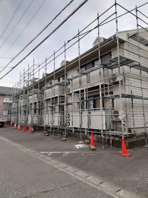 外壁. 屋根塗装 足場工事(三国町)