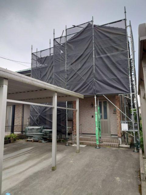 外壁塗装現場. 足場工事(越前市)